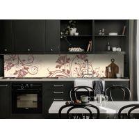 Наклейка кухонный фартук 65х250 см Абстрактные завитки бежевый