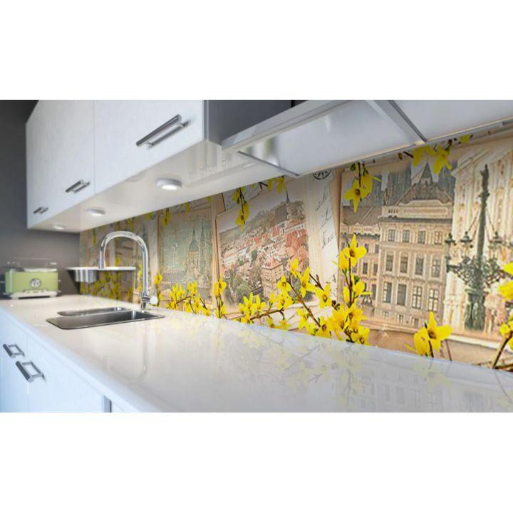 Наклейка виниловая кухонный фартук 60х250 см Солнечный Город