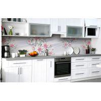 Наклейка виниловая кухонный фартук 65х250 см Розовые Георгины