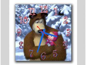 Обзор: Часы настенные прикольные для ребенка Машка и Мишка