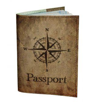 Обложка для паспорта DevayS Maker DM 0202 Роза ветров коричневая (01-0202-449)
