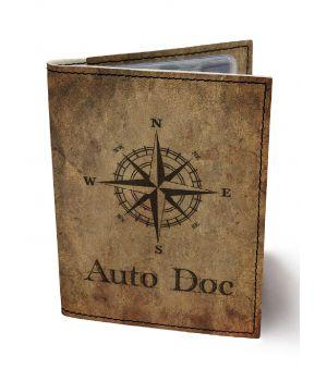 Обложка для автодокументов DevayS Maker DM 0202 Роза ветров коричневая (02-0202-449)