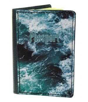 Обложка для паспорта DevayS Maker DM 03 Морские волны синяя (01-0103-466)