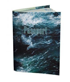 Обложка для паспорта DevayS Maker DM 0202 Морские волны синяя (01-0202-466)