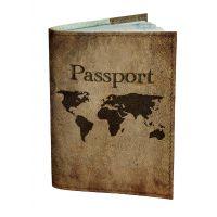 Обложка для паспорта DevayS Maker DM 0202 Карта мира коричневая (01-0202-448)