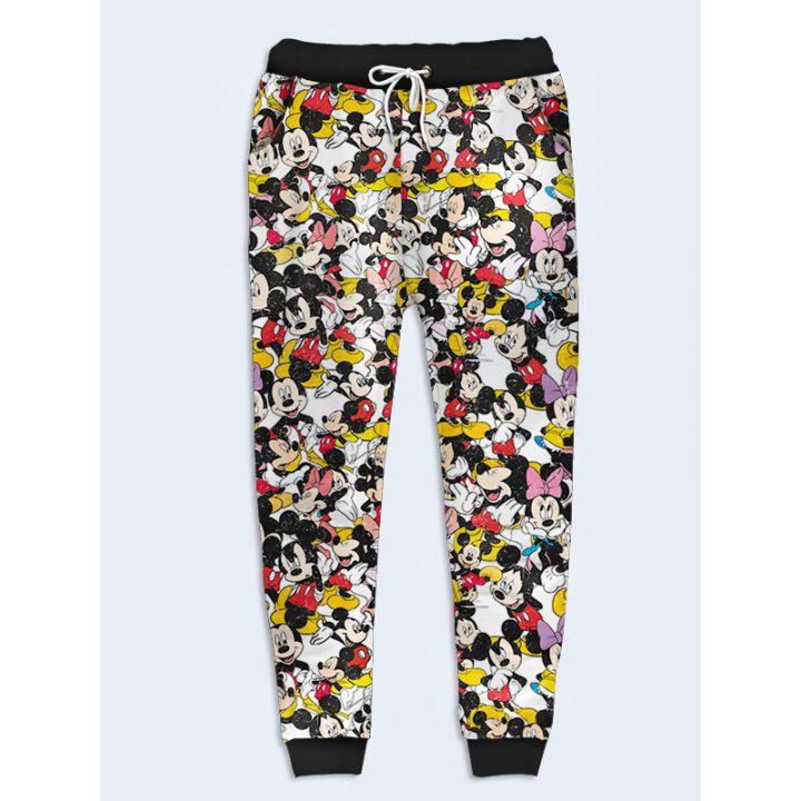 Модные женские брюки Микки и Минни