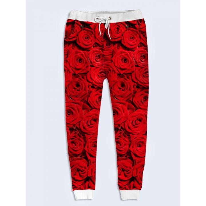 Модные женские брюки Красные розы