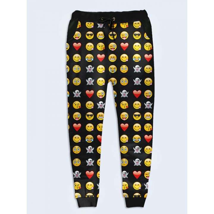 Модные женские брюки Смайлы чёрные