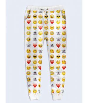 Модные женские брюки Смайлы белые