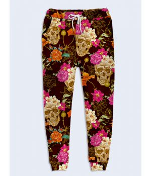 Модные женские брюки Черепа в цветах
