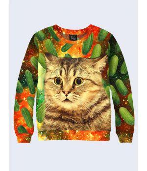Мужской свитшот Cat and cucumbers