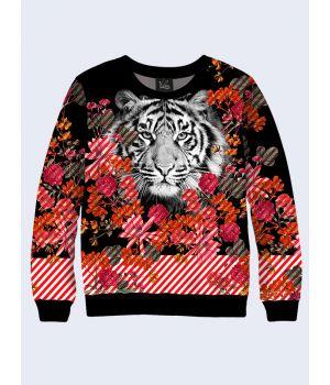 Свитшот Черно-белый тигр и цветы