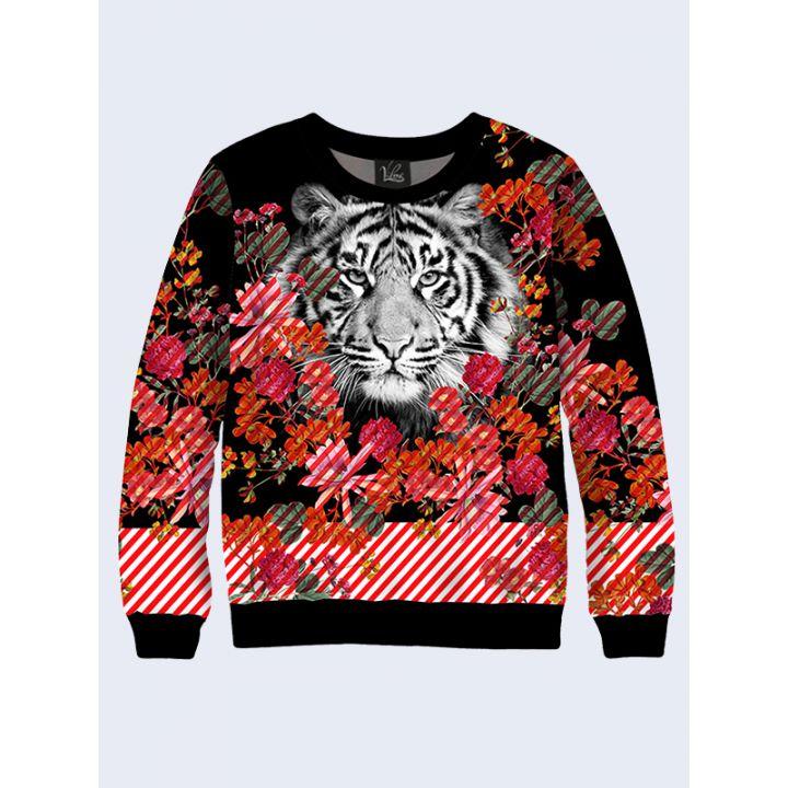 Женский Свитшот Черно-белый тигр и цветы