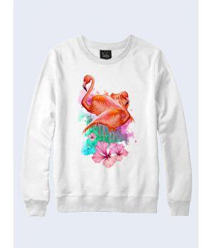 Свитшот Фламинго и цветы