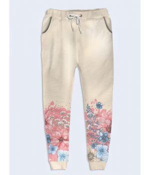Женские брюки Розовые и голубые цветы
