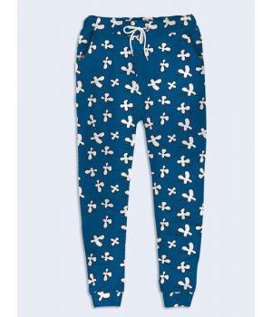 Женские брюки Цветочки на синем