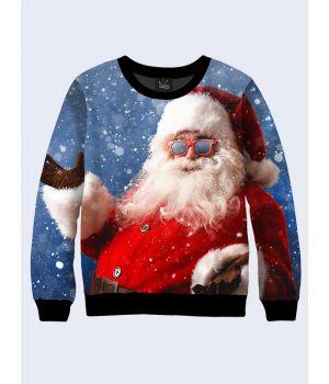 Чоловічий світшот Санта Клаус в чорних окулярах