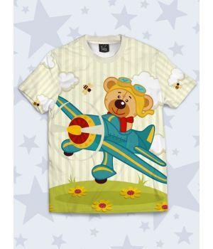 Детская футболка Мишка в самолёте