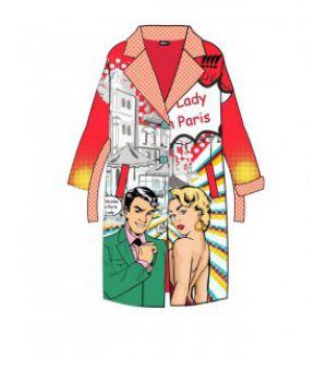 Женское кашемировое пальто с принтом 57030