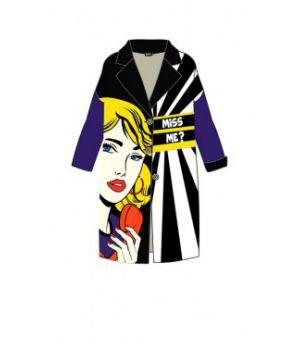Женское кашемировое пальто с принтом 57031