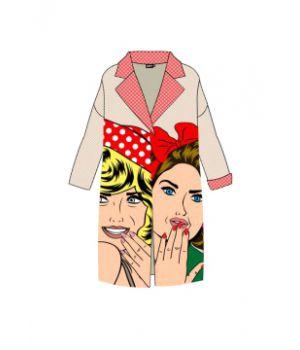 Женское кашемировое пальто с принтом 57034