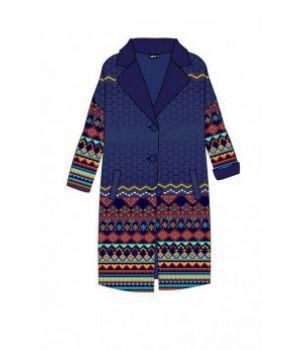 Женское кашемировое пальто с принтом 57035