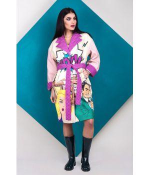 Женское кашемировое пальто с принтом 57036