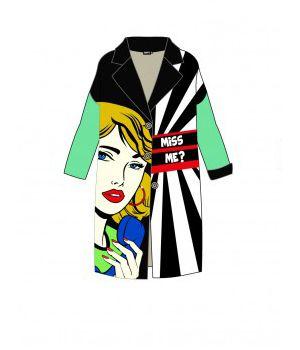 Женское кашемировое пальто с принтом 57029