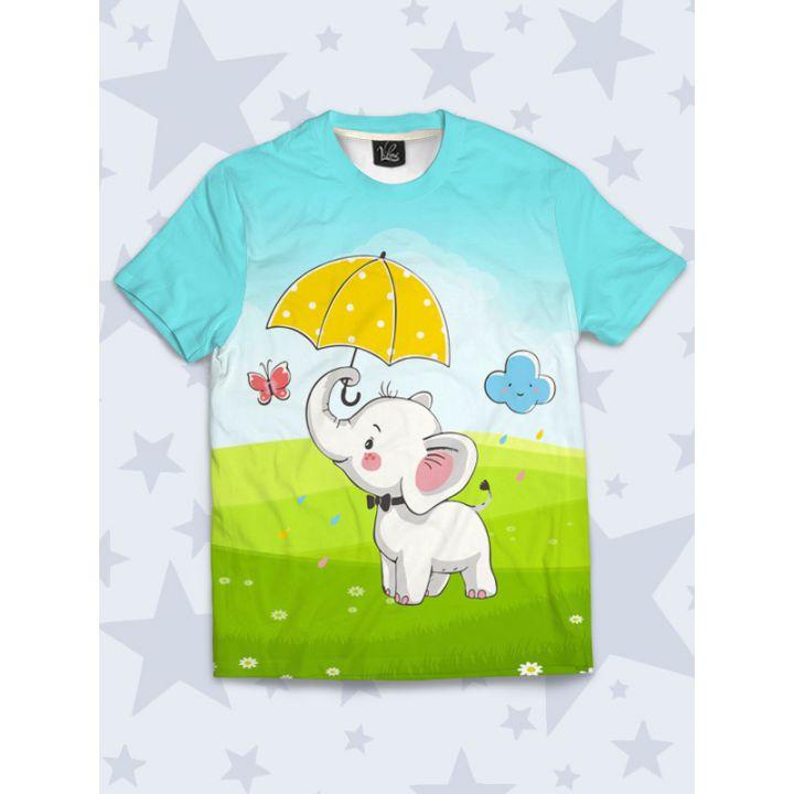 Детская Футболка Слоник с зонтом