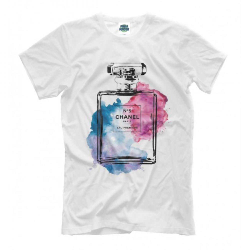 57209b19dc33 Мужская Прикольная футболка с рисунком chanel №5 - Купить мужскую ...