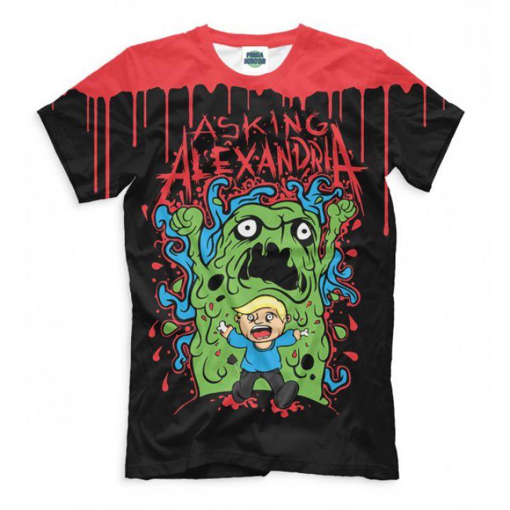 Мужская Прикольная футболка с рисунком Asking Alexandria зеленый монстр