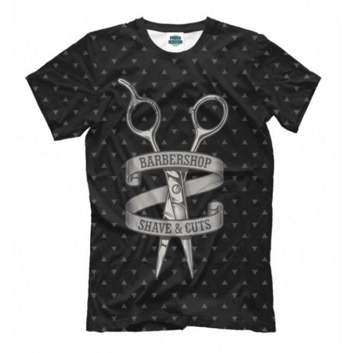 Мужская Прикольная футболка с рисунком Barbershop