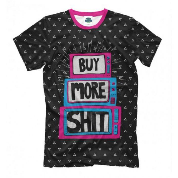 Мужская Стильная футболки с принтом Buy More Shit