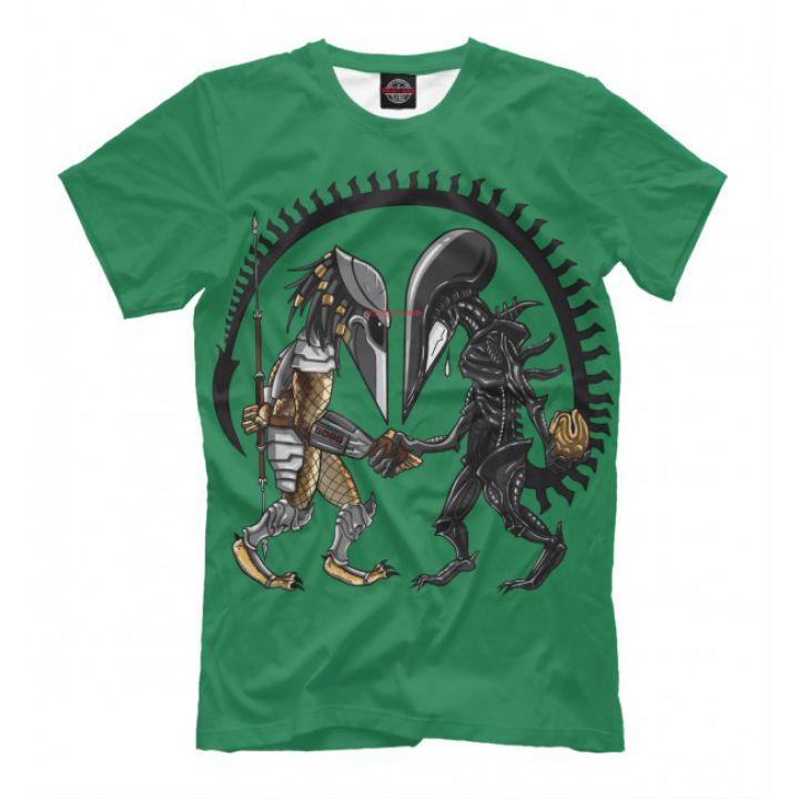 Мужская Прикольная футболка с рисунком Alien vs Predator