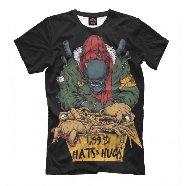Мужская Прикольная футболка с рисунком Alien