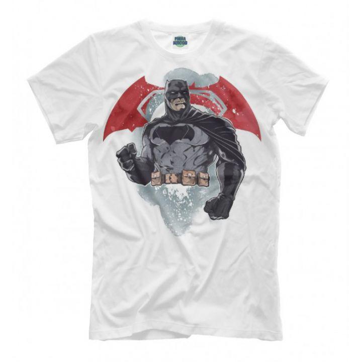 Мужская Прикольная футболка с рисунком Batman белая