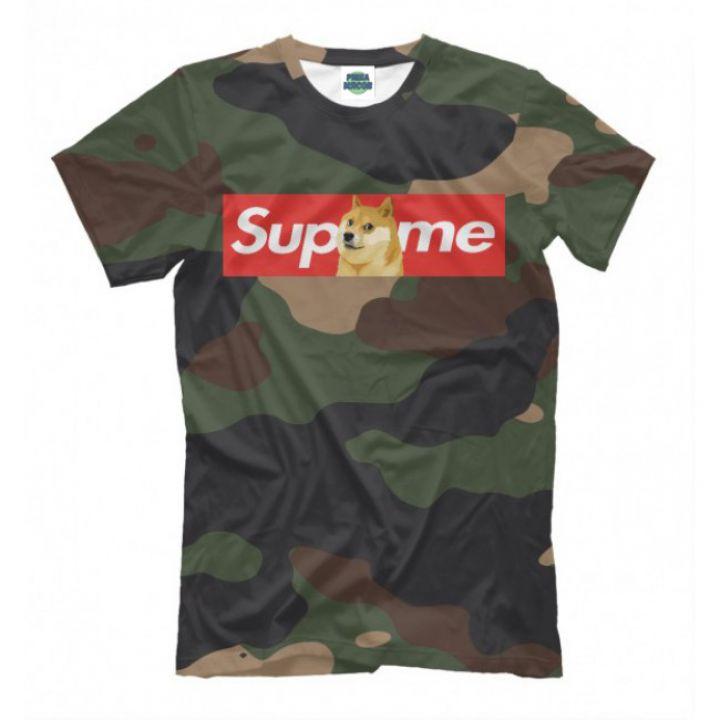 Мужская Прикольная футболка с рисунком Camouflage Supreme Doge