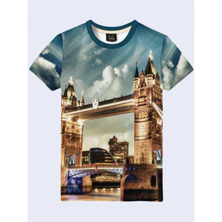 Футболка мужская Tower Bridge с красочным 3D-рисунком