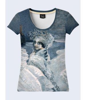"""3D Женская футболка """"Царевна"""" серый"""