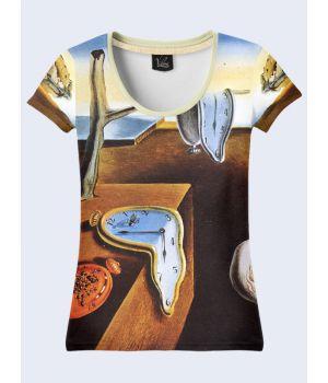 """3D Женская футболка """"Тающие часы"""" беж"""