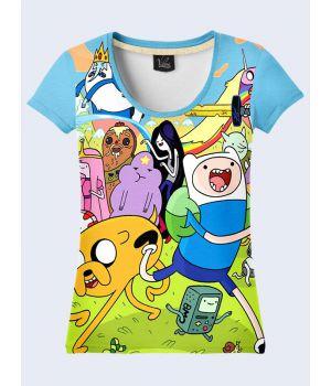 """3D Женская футболка """"Мультяшки"""" голубой"""