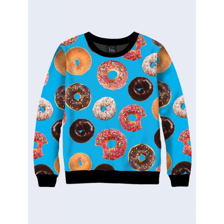 """Жіночий світшот """"Солодкі пончики"""" синій"""