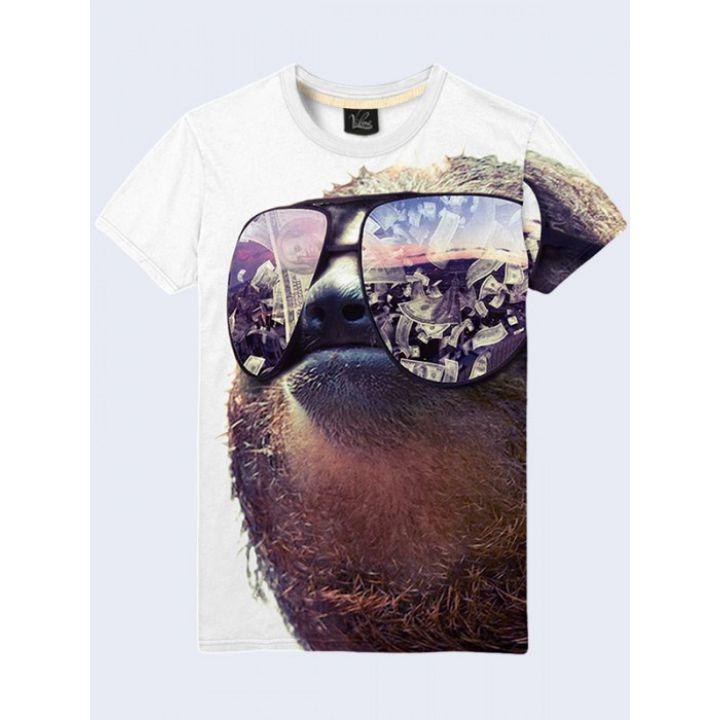 Креативная 3D-футболка мужская с принтом Ленивец
