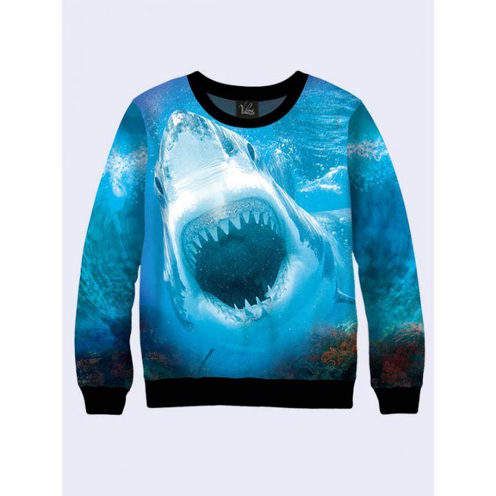 """Жіночий світшот """"Акула"""" синій"""