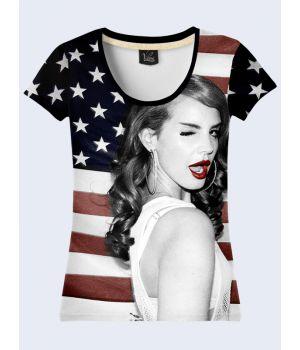"""3D Женская футболка """"Певица Дель-Рей"""" черный"""