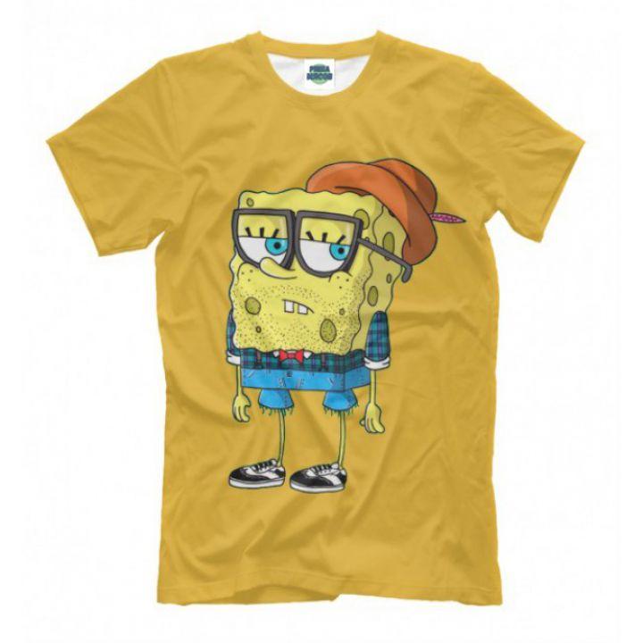 Женская Прикольная футболка с рисунком Спанч Боб