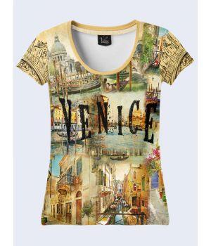 """3D Женская футболка """"Прекрасная Венеция"""" беж"""