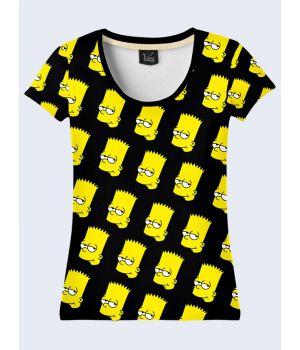 """3D Женская футболка """"Симпсоны"""" черный"""