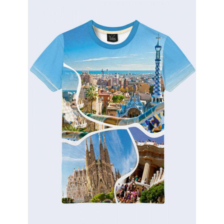 3D-футболка мужская с красочным фотопринтом Барселоны