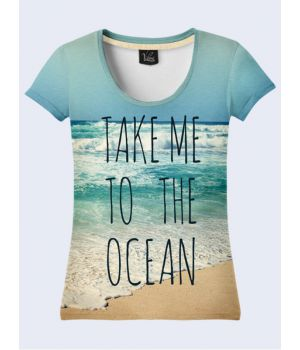 3D Женская футболка «Океан» голубой
